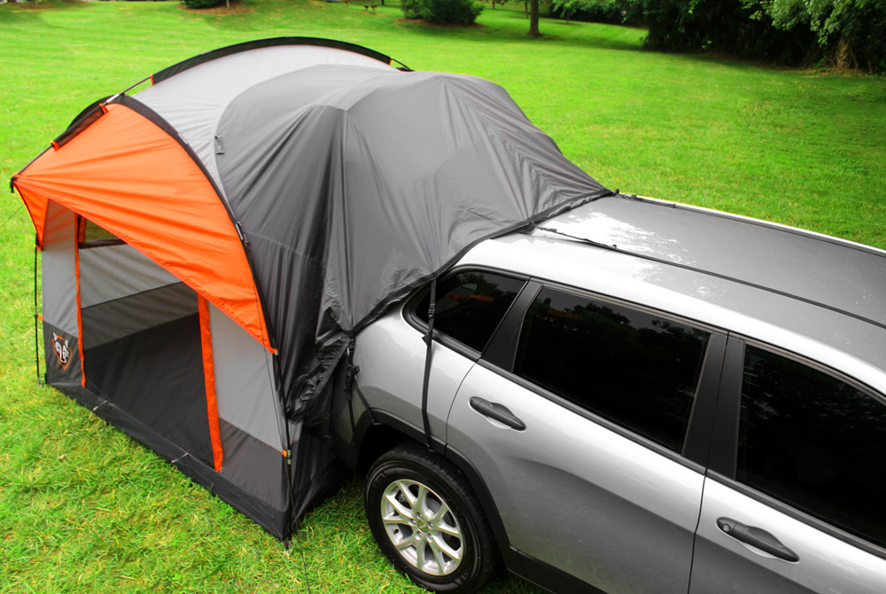 SUV tents can also be connected to a truck with a c&er cap or shell on it as long as the height from the ground to the vehicle is no higher than ... & Camping with a SUV tent